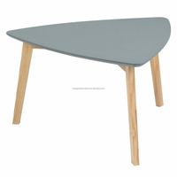 scandinavian large pine wood triangle coffee table with grey MDF top