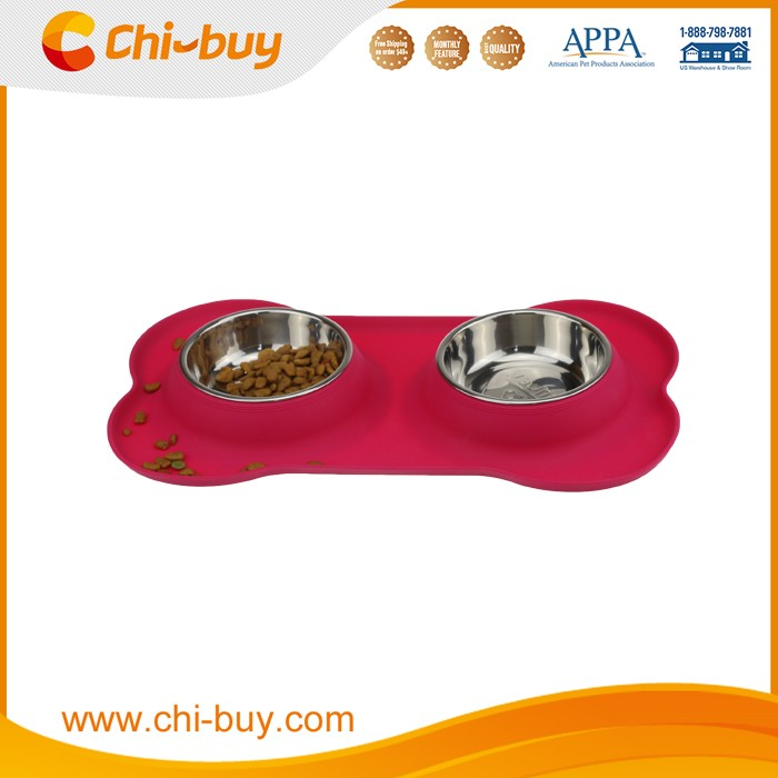 Chi-buy Silicone Double Dog Bowls Set Travel Pet Bowls Stainless Steel Dog Bowls Free Shipping on order 49usd