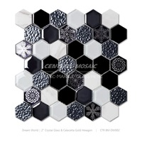 Home Decor Crystal Glass mixed Calacatta Gold hexagon mosaic tile