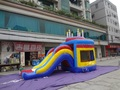 Plastic big inflatable bouncers with big slide inflatable jumping bouncer castle advertising