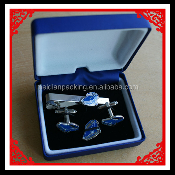 Custom Blue Leather And Metal Cufflink Box Packaging