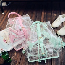 B13870A 2018 new fashion woman high quality transparent shoulder bags beach bags