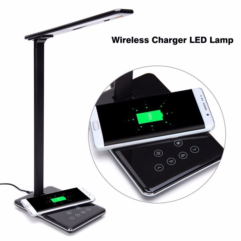 USB Charging LED Table Lamp Port Wireless charger for All Qi-Enabled Devices Charging and Lamp Protect One's Eyes