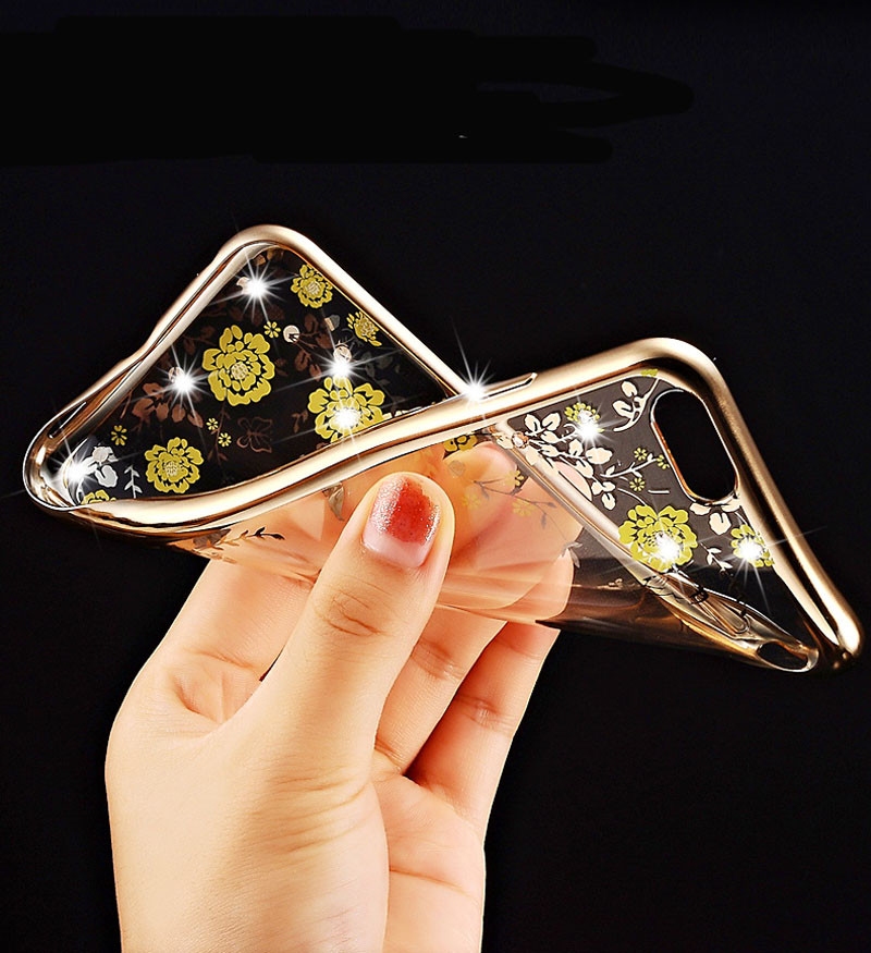 2016 Newest Fashion Luxury Secret Garden Flower Diamond Bling Soft TPU Back Case Cover For Apple iPhone 5C