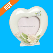 heart shaped decorative glazed white porcelain picture frames