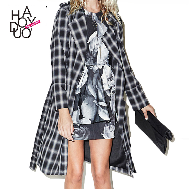 Haoduoyi 2016 Autumn Women Fashion Check Pattern Slim Trench Coat Long Sleeve Turn-down Collar Color Block Coat for wholesale