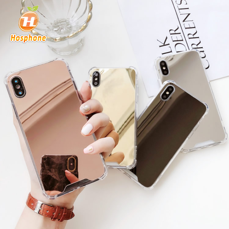 Have Stock Four Drop Transparent TPU PC Mirror Back Cover Bumper Hybrid Shockproof Acrylic Phone <strong>Case</strong> For iPhone 6s 7g X