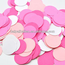 Pink and white paper wedding confetti Round shaped paper confetti
