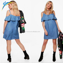 YIWU hot sale summer women dress jean skirt falbala dress off shoulder strap dress