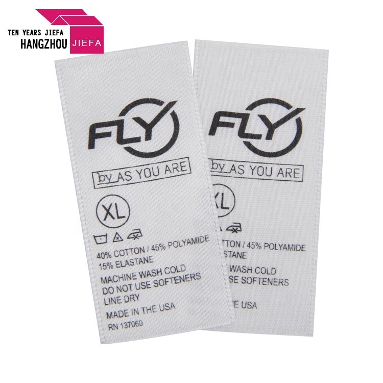 100% polyester private wash clothing care label