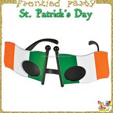 2016 cheap plastic party Irish flag sunglasses FGGS-0018