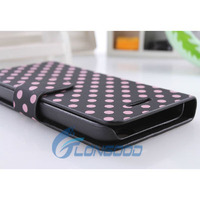 Wallet Stand Cute Dot Mobile Phone Leather Case For iPhone 5 5C