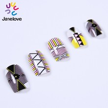 nail art geometric pattern full cover designs colorful press on nail Artificial Fingernails
