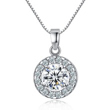 18K White Gold GP Box Chain Austrian Crystal Round Diamond Pendant Necklace