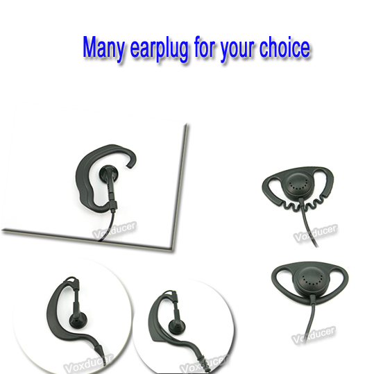 Voxducer Single side Zig zag D shape Listen only earphone for Kenwood Baofeng 2 pins radio