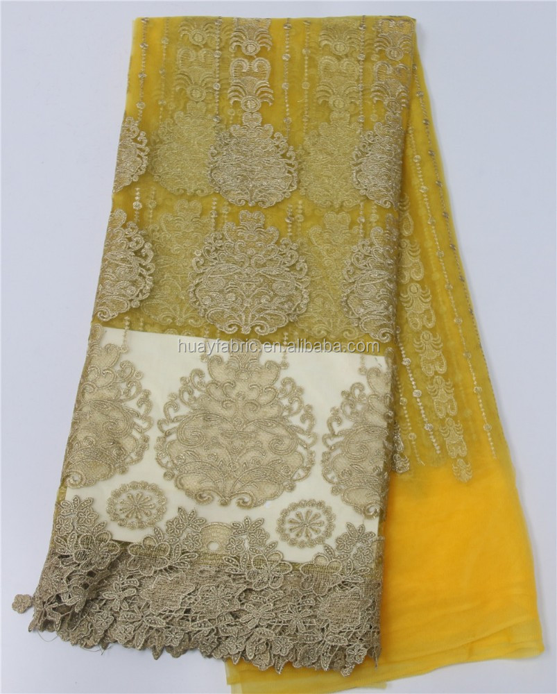 New yellow embroidery mesh lace fabric with stoness for