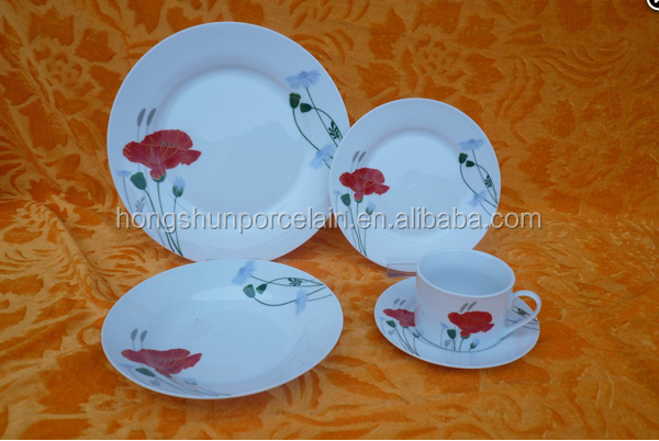 America Hot Selling Customized Fine Porcelain Dinnerware Sets / 20pcs FDA Approved Dinner Sets