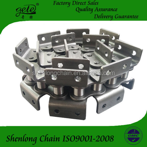 DIN standard roller chain 140-1 with A2 attachments both side.