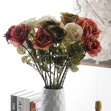 High Quality European Style Fake Artificial Dried Rose Flower for Home Decoration