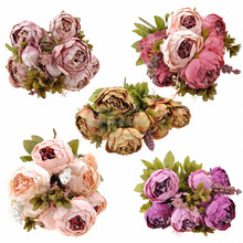 wholesale high quality popular style Artificial wedding flower Peony bouquets with 8 peony heads