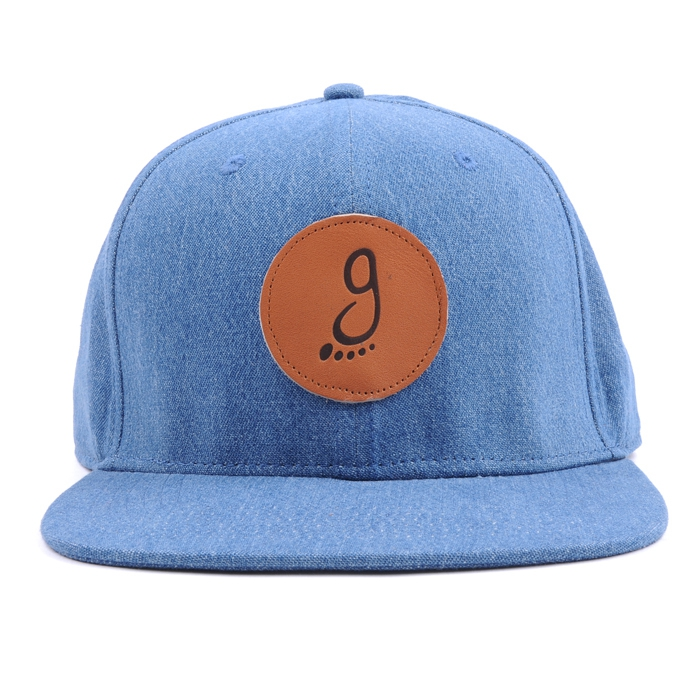 Denim custom leather logo 6 panel snapback hat