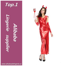 Sexy women red hot gown halloween wear leather devil costume with tails