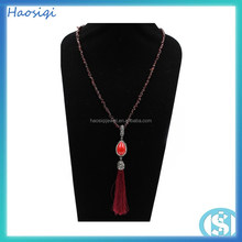 fashion tassel ruby charm bead bohemian jewelry necklace for women