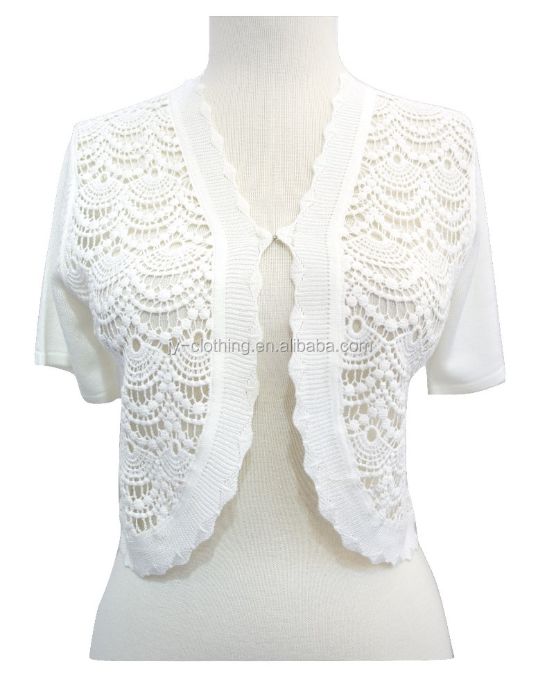 spring white wedding fancy short sleeve ladies sweater crochet lace pattern knit scalloped woman shrug