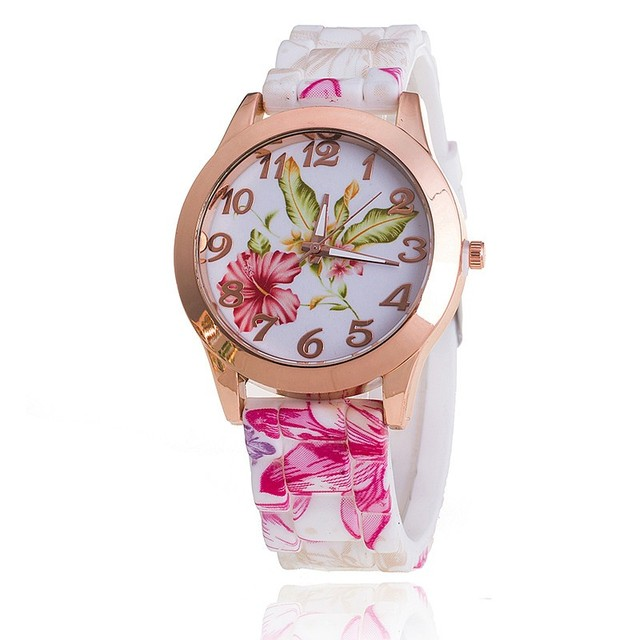 New Women Silicone Flower Watch Fashion Women Dress Watch Reloj Mujer Girls Quartz Watches Relogio Feminino BW634