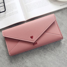 Hot selling amazon korea lady fashion heart love wallet embroidered envelope styles women's PU leather wallet and purses