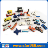 Various cartoon PVC vehicle usb flash drive (USB car, truck, automobile, trailer,forklift, boat, plane)