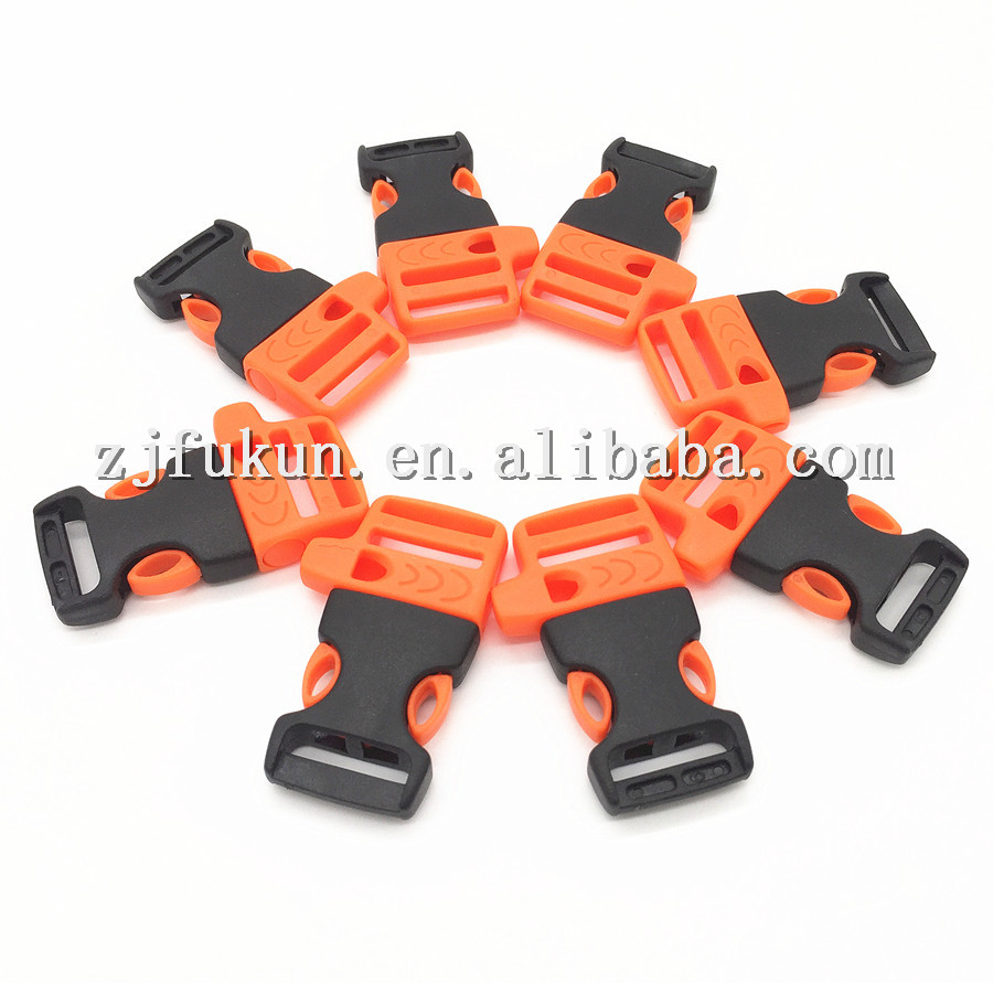 "3/4"" Orange Whistle <strong>Buckle</strong> Durable Plastic Outdoor Camping Survival Quick Release Whistle <strong>Buckles</strong> for Paracord Bracelets"