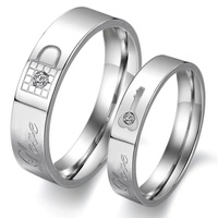 Wedding Bands Matching Lock And Key Promise Titanium Steel Ring for Couple