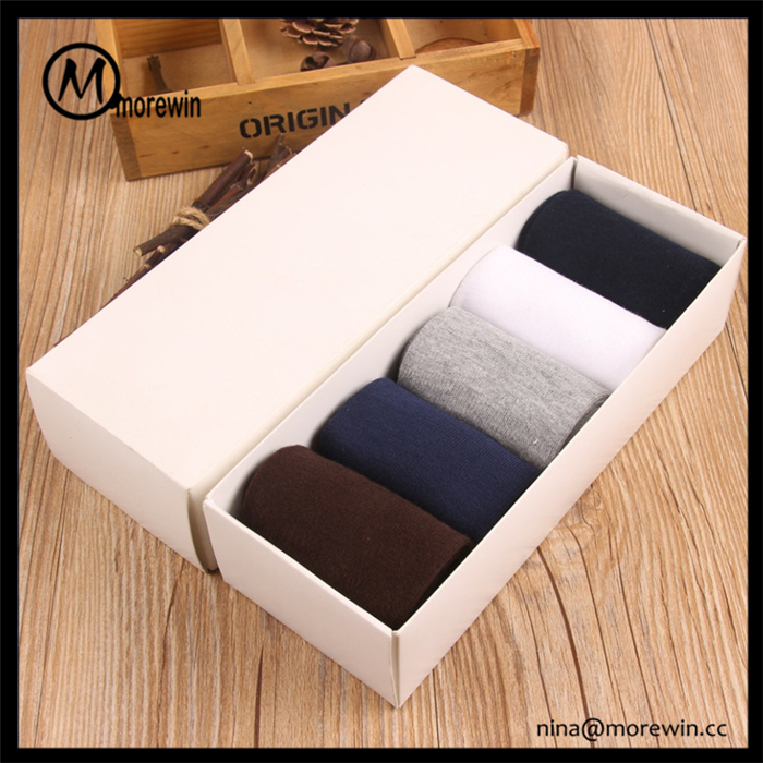 Morewin Brand Wholesale Promotional Gift Mens White Cotton Comfort Crew Socks Custom Mens Business Socks 5 Pack