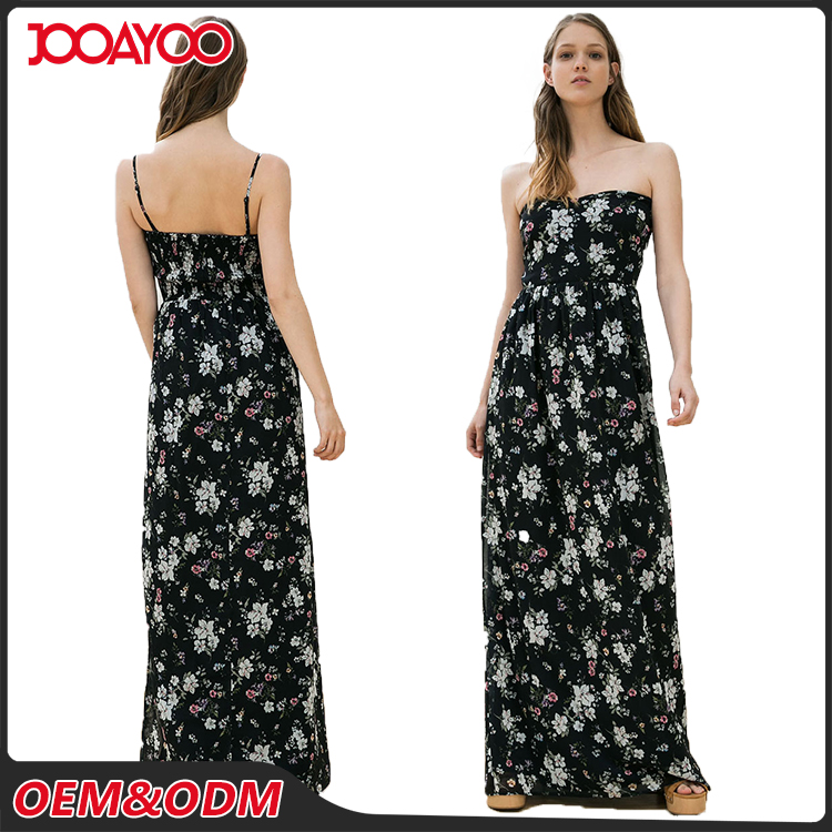 Woman Summer Slim Pencil Bodycon Slip Dresses Black Sexy Long Ladies Floral Maxi Dress