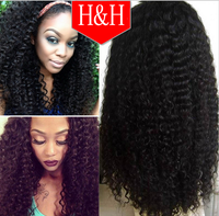 Wholesale cheap price 7A unprocessed brazilian kinky curly 100 human hair lace front wigs with baby hair
