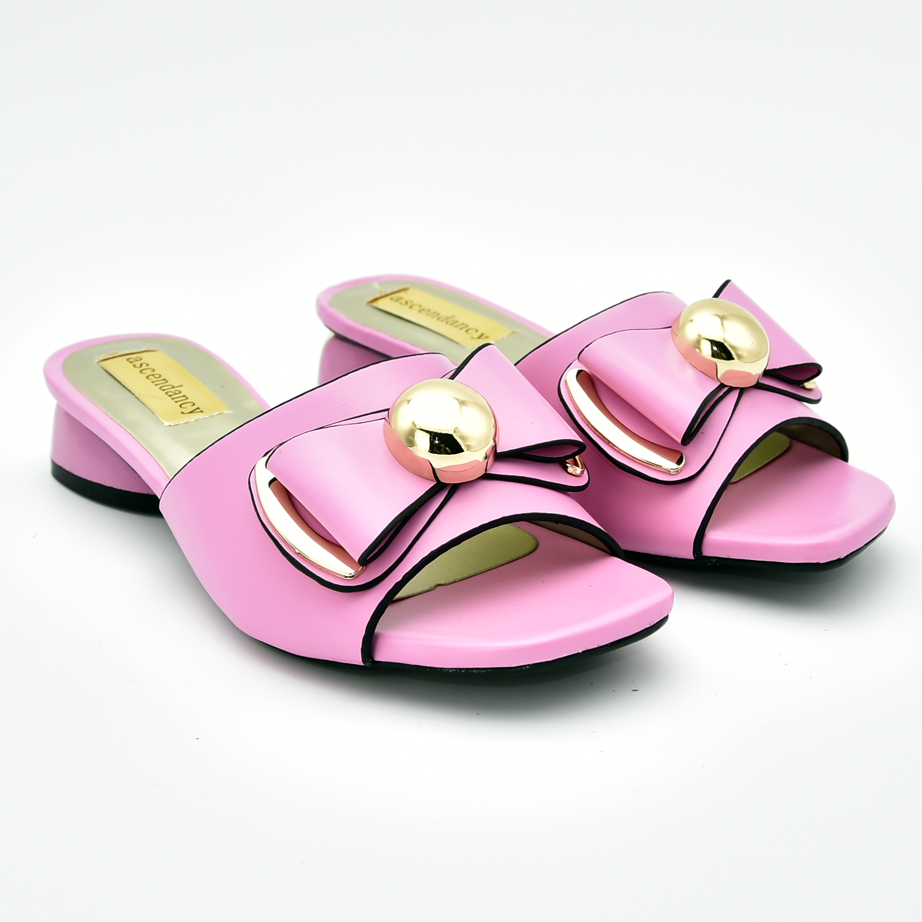 Rortydream pink sandals lady shoes low <strong>heel</strong> B3192-4