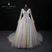 Flower lace Applique sexy colours V-neck V-back long sleeve dinner dress Cathedral train Pageant evening Gowns