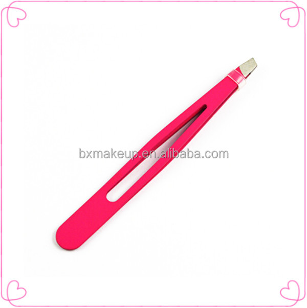 Dark pink volume lash stainless steel eyebrow tweezers