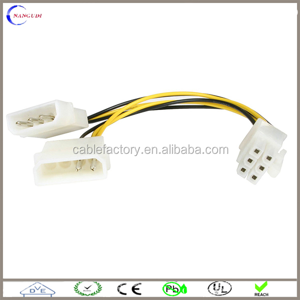 Video Card Power Supply Adapter Cable 4 Pin Molex Connector to 6 Pin PCIE Adapter