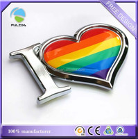 Custom Heart Shape Pride Flag Plastic Chrome Dome Car Emblem