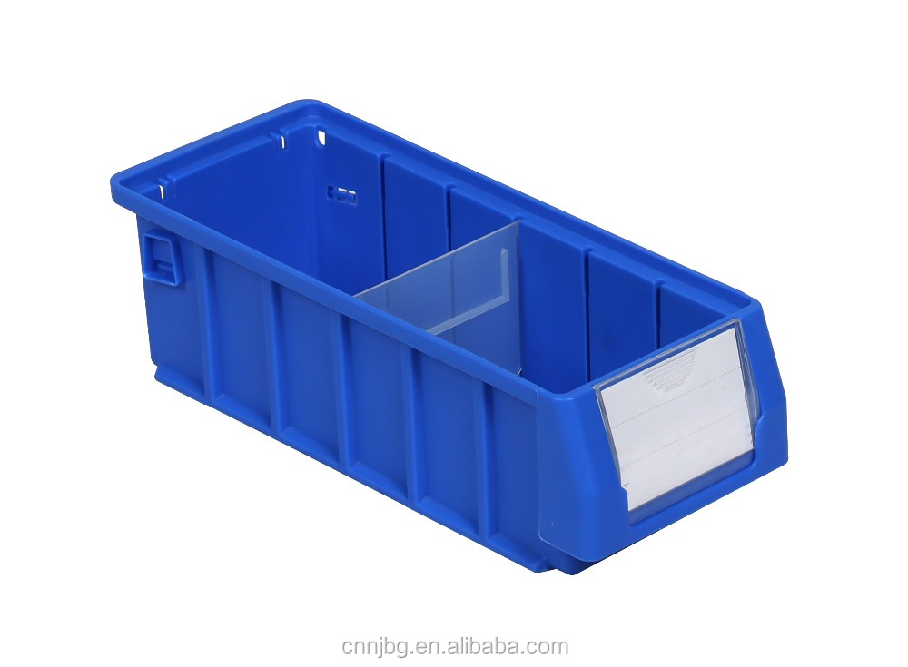 industrial plastic storage bins with dividers for warehouse parts storage