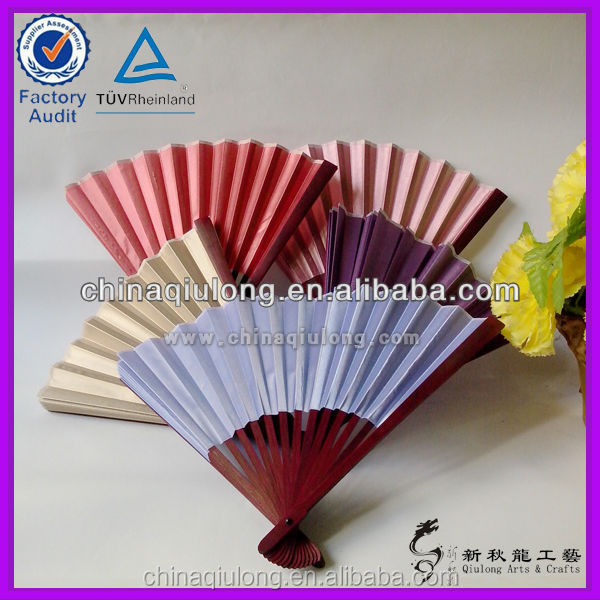 Fuzhou Newqiulong custom printed folding hand fan artificial bamboo wedding hand fan