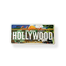 High quality metal sign printed embossed logo HOLLYWOOD of US aluminum tin sign plate plaque with magnet for all decoration