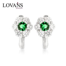 Light Weight Green CZ 925 Sterling Silver Earrings High Quality English Locks Fit Russian Market