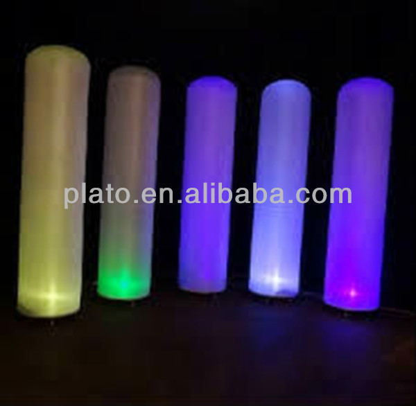 colorful led inflatable tube cylinder/lighting cone for hot sale promotion