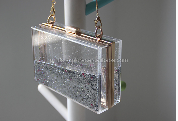 Most Popular acrylic clutch vintage brass copper pillow purse metal evening purse bag