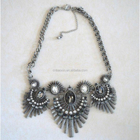 Newest Magnetic Design Grey Crystal Pendant Necklace