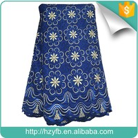 Popular african fabrics blue dry unique swiss embroidery comfortable polish cotton lace with rhinestones