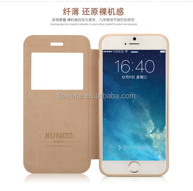 FL2553 XUNDD Ultra-thin PU+TPU Leather Window Stand Case Cover For Apple iPhone 6 plus